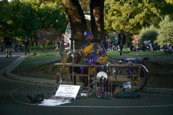 Musiker mit Schlagzeug im Yoyogi Park