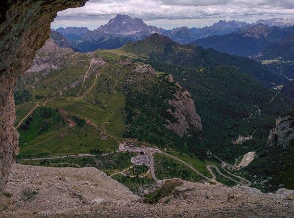 Blick vom Kaiserjägersteig auf den Falzaregopass