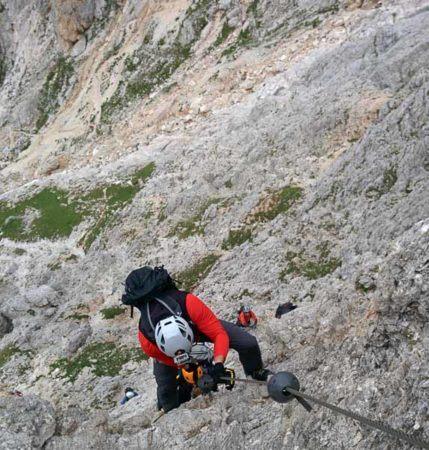 Gerade Wand am Via Ferrata degli Alpini