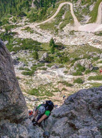 Schlüsselstelle C und D am Via Ferrata degli Alpini