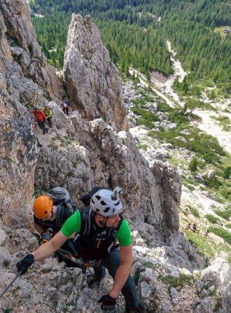 Seilsicherungen am Via Ferrata degli Alpini