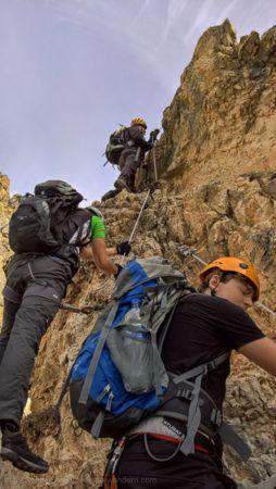 Schlüsselstelle Überhang am Via Ferrata degli Alpini