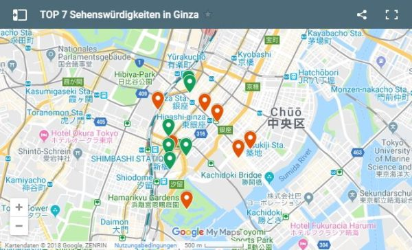 Google Maps Karte Highlights in Ginza in Tokio