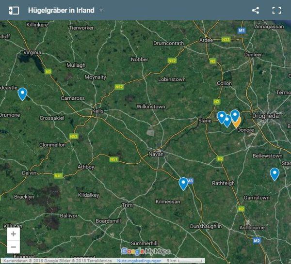 Google Maps Karte Hügelgräber in Irland