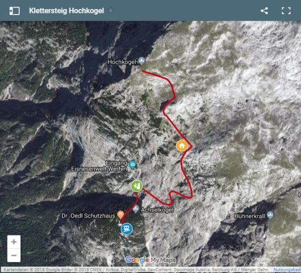 Google Maps Karte Klettersteig Hochkogel