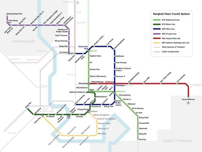 Übersichtskarte des Nahverkehr in Bangkok