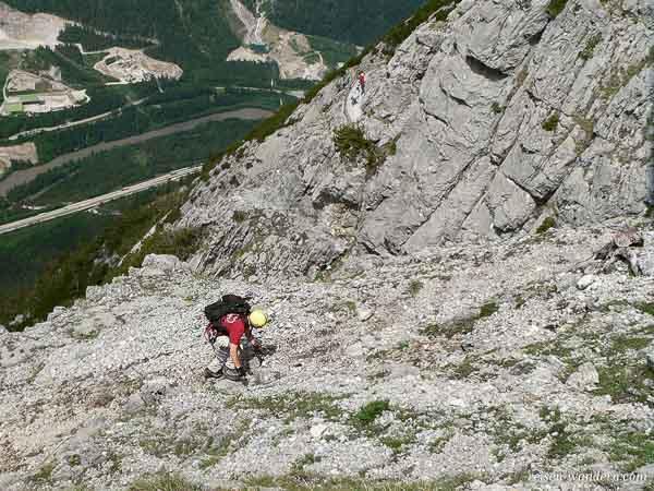 Aufstieg am Klettersteig Hochkogel bei Werfen