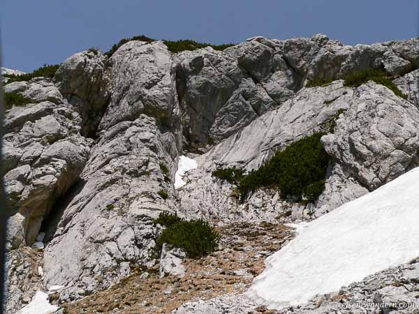 Schneefeld am Klettersteig Hochkogel bei Werfen