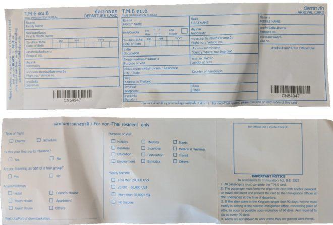 Einreiseformulare für Thailand