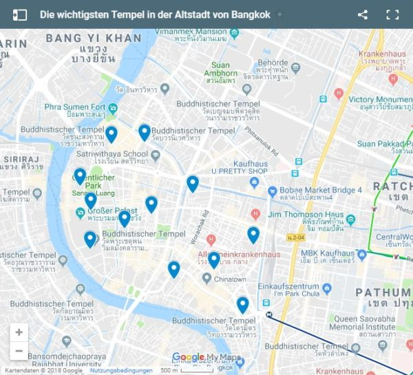 Google Maps Karte Bangkok Altstadt