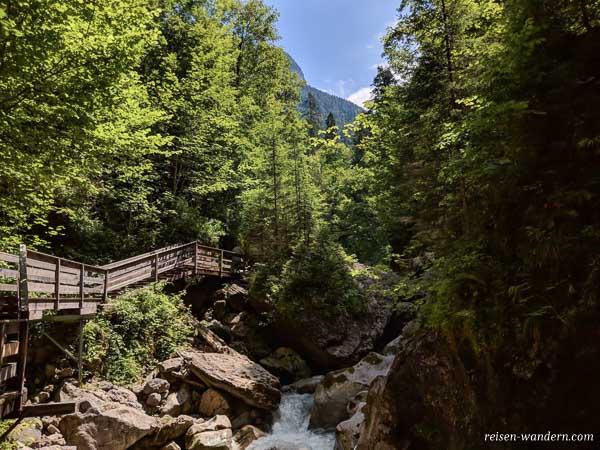 Stege und Wald am Ende der Seisenbergklamm