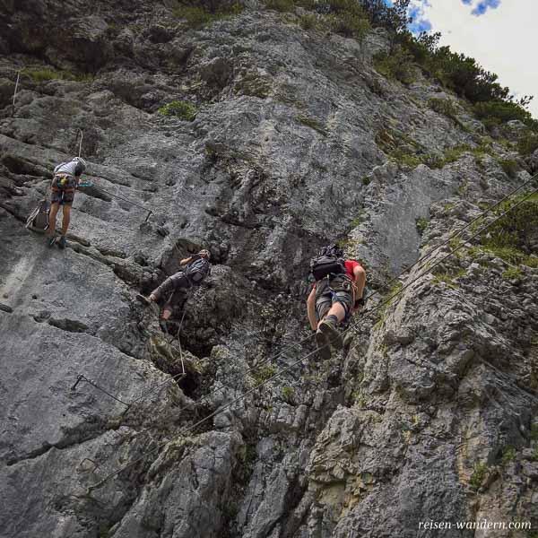 Seilbrücke am Klamml Klettersteig