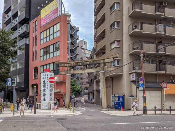 Großes Shinto Torii des Ikutama Schrein