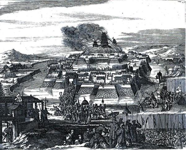 Kupferstich vom Brand im Osaka Castle 1663