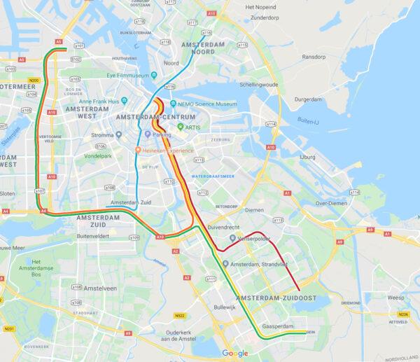 Linienplan der Metro von Amsterdam auf Google Maps