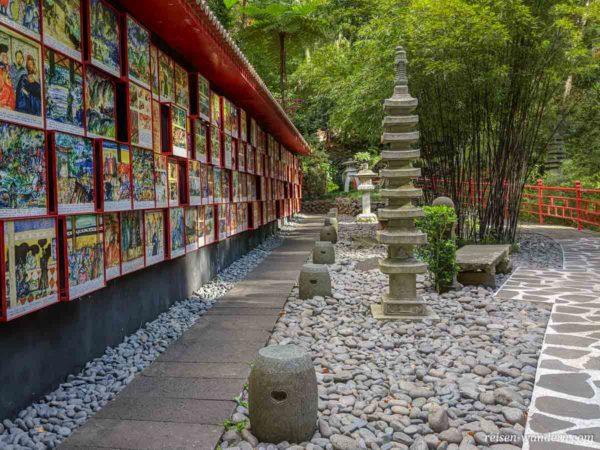 Wand mit Koloniolgeschichte in Japan im Monte Palace Tropical Ga