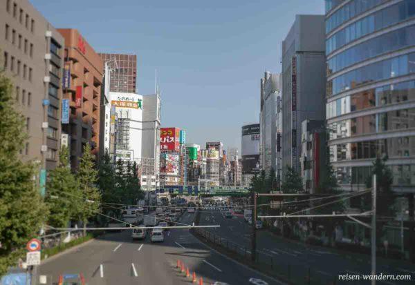 Blick von der Ome Highway Bridge auf Shinjuku