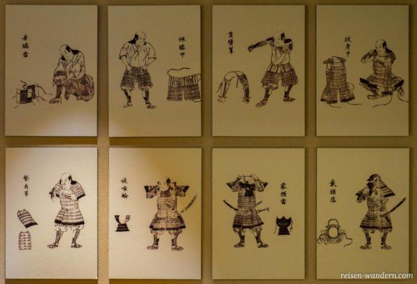 Anleitung zum Anlegen einer Samurairüstung im Samurai Museum in Tokio