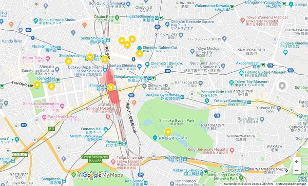 TOP 11 Sehenswürdigkeiten in Shinjuku auf  einer Google Maps Karte