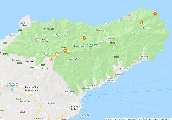 Google Maps Karte vom Anaga Gebirge auf Teneriffa