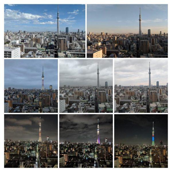 Collage vom Skytree in Tokio zu verschiedenen Tageszeiten