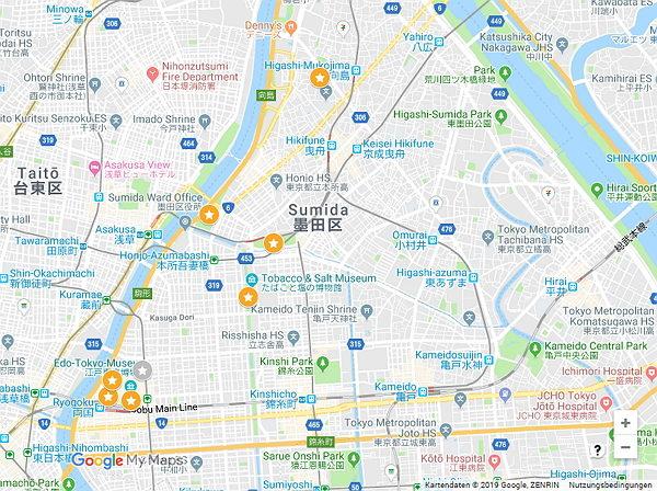 Google Maps Karte mit Sehenswürdigkeiten in Tokio Sumida