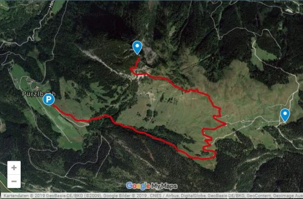 Google Maps Karte mit Route zum Hochkranz