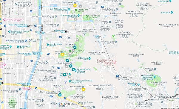 Google Maps Karte Kyoto Gebiet Yasaka
