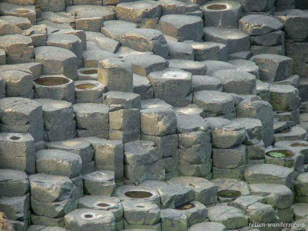 Basaltsäulen am Boden beim Giant's Causeway