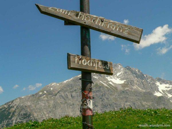 Wegweiser zum Hochkranz in Österreich
