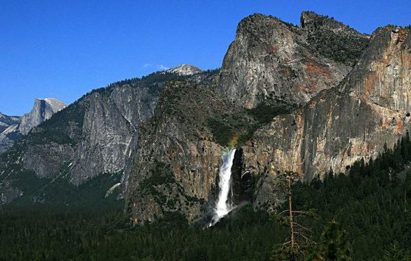 Aus den Bergen stürzt ein Wasserfall in den Wald