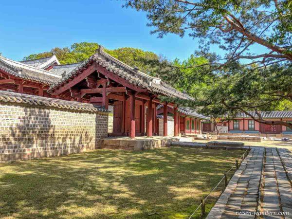 Außenseite einer Halle im Jongmyo Schrein