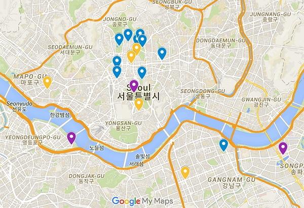 Google Maps Karte von Seoul mit den wichtigsten Sehenswürdigkeiten