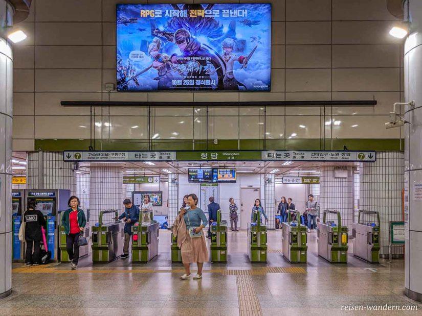 CheckIn in der U-Bahn in Seoul mit Schranken