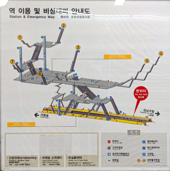 Infokarte zur Lage der U-Bahn Station und aller Notausgänge in Seoul
