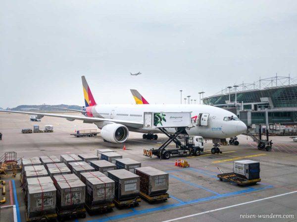 Pilot putzt Scheibe am Flugzeug auf Flughafen Incheon in Südkorea