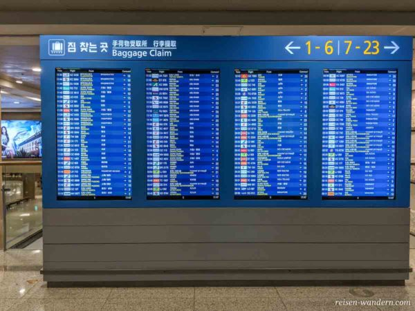 Infotafel für Gepäckausgabe im Flughafen Incheon