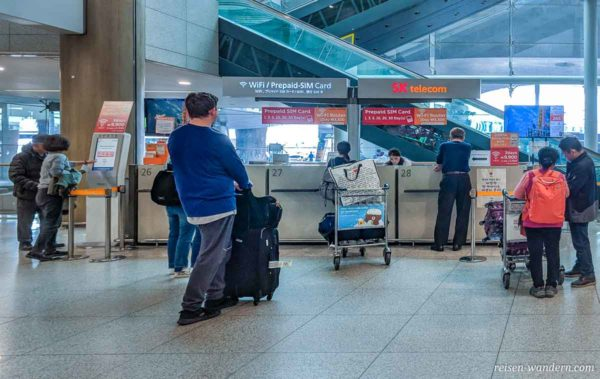 Verkaufsterminal für Internet für Südkorea am Flughafen Inch