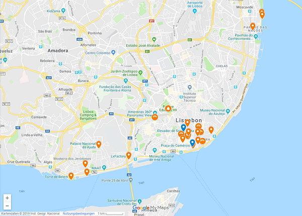 Google Maps Karte von Lissabon