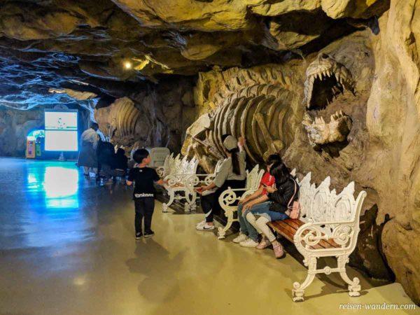 Skelett eines Dinosauriers an einer Wand im Lotte World Adventure