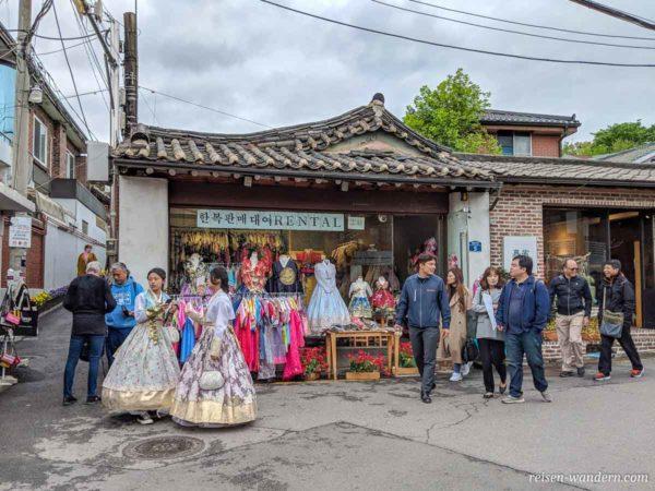 Kostümverleih für traditionelle Kleidung in Bukchon Hanok Village