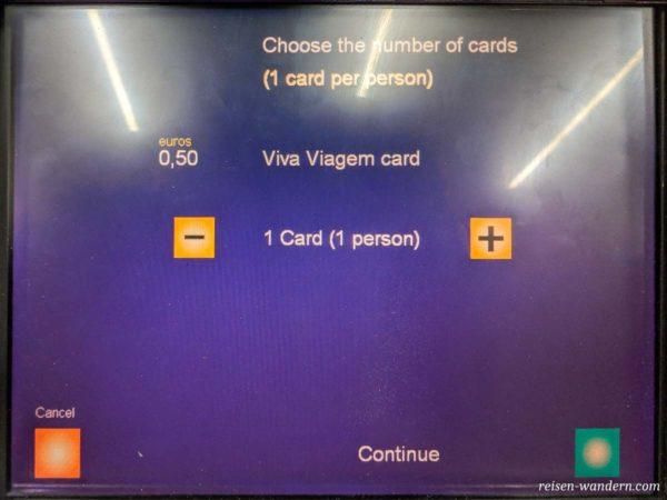 Auswahlbildschirm für Anzahl Via Viagem Card