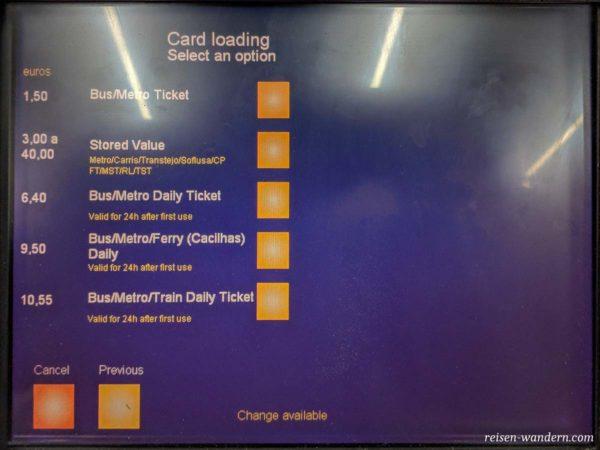 Auswahlbildschirm für Buchung der Fahrten