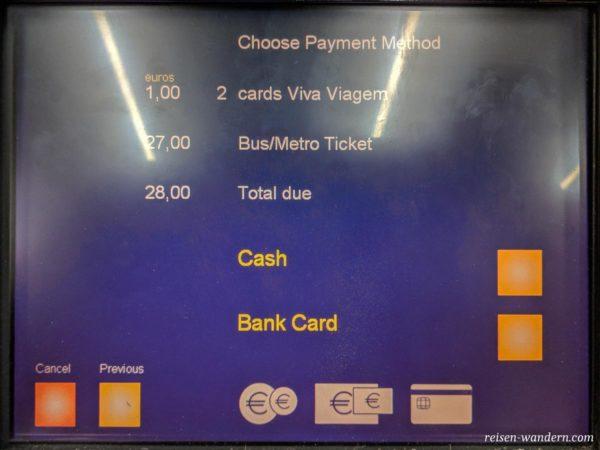Auswahl der Zahlmethode am Bildschirm
