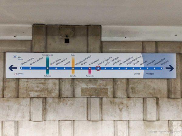 Linienübersicht der blauen U-Bahn in Lissabon