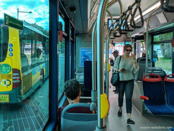 Innenaufnahme Bus in Lissabon