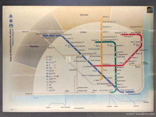 Streckennetz der Metro in Lissabon