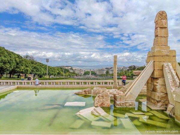 Blick vom Denkmal im Jardim Amália Rodrigues auf das Zentrum vo