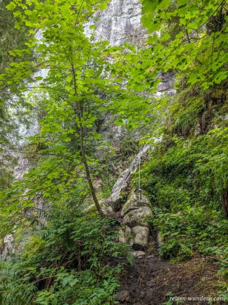 Stahlseil kurz vor dem Einstieg des Schmied Klettersteig