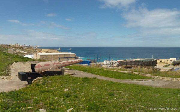 Größte Kanone beim Fort Rinella auf Malta